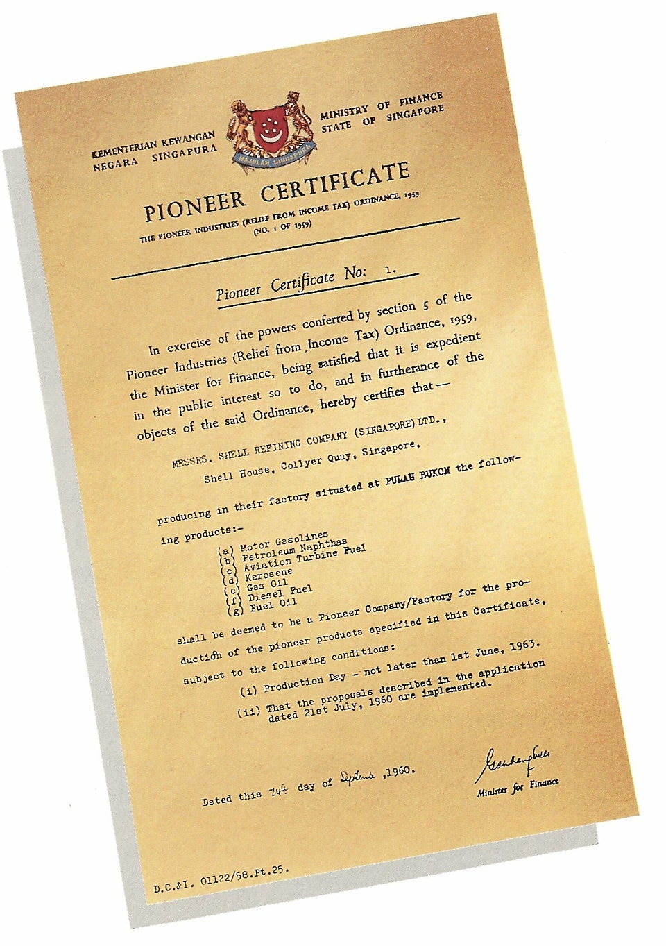 1960 Shell awarded Pioneer Certificate No.1