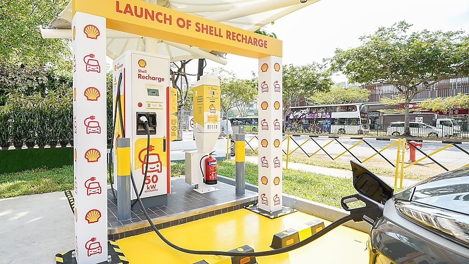 Shell launched Singapore's first electric vehicle charger at a service station, Shell Recharge, at Shell Sengkang. Shell Recharge will be available at nine other Shell stations by October 2019.