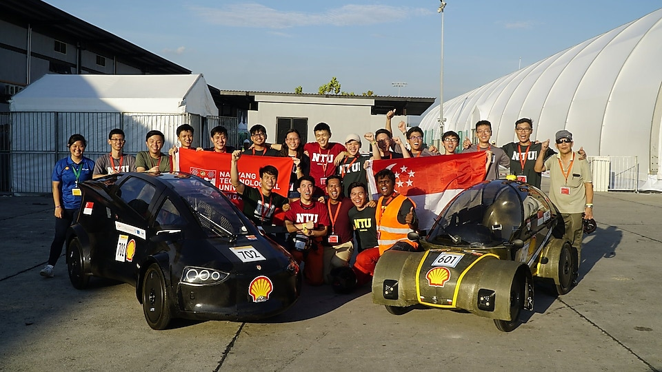 Nanyang Technology University (NTU) teams with their UrbanConcept Battery Electric powered Nanyang Venture XI and Hydrogen powered Nanyang Venture X