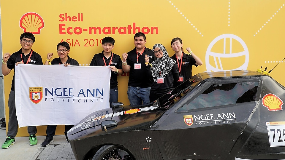 Ngee Ann Polytechnic team poised for race with their Urban Concept Battery Electric car, Black Sirius.